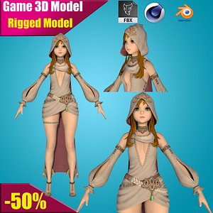 girl rigged cartoon model