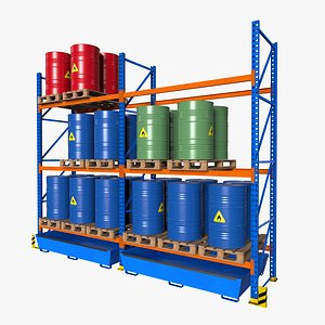 Pallet Racking Barrels 3D
