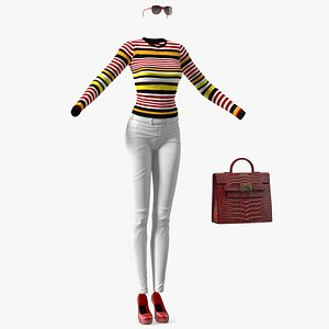3D Fashionable White Jeans with Striped Sweater model