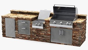 brick outdoor barbecue kitchen 3D model