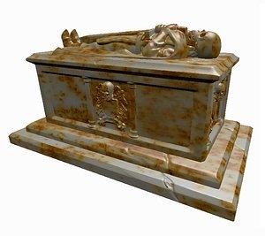 3D sarcophagus tomb skeleton model