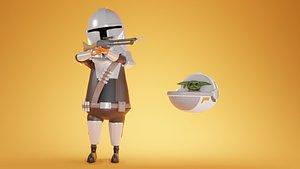 3D The Mandalorian and Baby Yoda