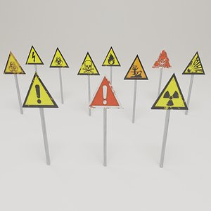 3D warning signs pack