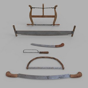 Pack of 6 Medieval Saws and Hacksaws model