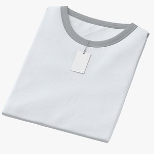 3D Female Crew Neck Folded With Tag White and Gray 01