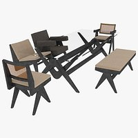 Cassina Jeanneret Capitol Complex Black Mahogany Table and Seating Set