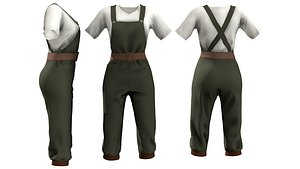 3D Retro Overall With T-Shirt model