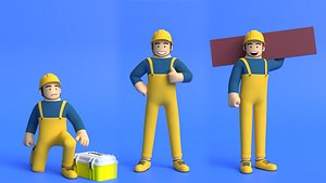 3D model Minimal Builder Cartoon Character