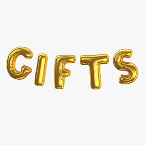 3D Foil Baloon Words GIFTS Gold