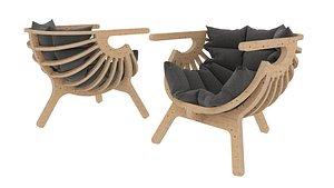 Parametric chair on three legs model