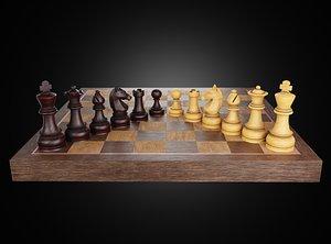 Set of wooden chess 3D