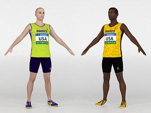 Athlete Runners 2 in 1 3D model