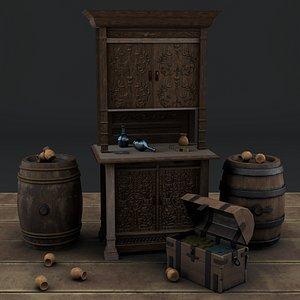 classic cupboard antique 3D