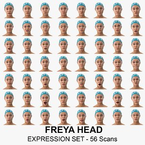 3D Freya Clean Scans Full Expression Set - 56 poses Collection model