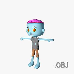 Zombie Male - OBJ - Low Poly Quad 3D
