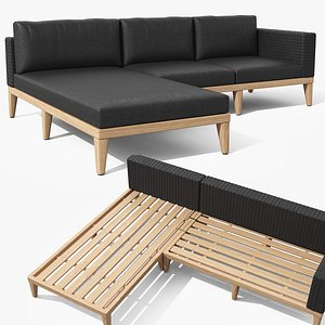 3D Urba Slate Gray Sectional Sofa model