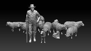 shepherd and sheep 3D model