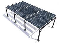Elevated pv solar panel array construction