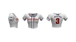 3D Ladies Cropped Baseball Jersey