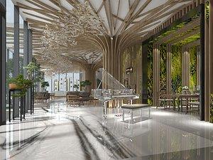 Living room, modern living room, modern style living room, Nordic living room crystal piano 3D model