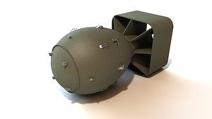 Fat Man atomic bomb with interior 3D model