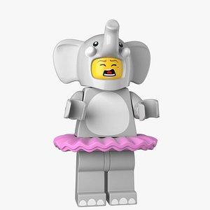 Lego Elephant Girl 3d Model 3D model