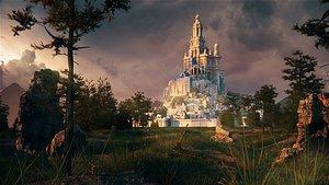 3D c4d octane Forest fantasy castle scene