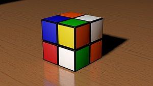 2x2 Scrambled Rubiks Cube 3D
