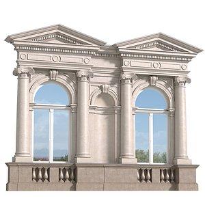 3D Classic facade with pediment model
