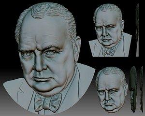 3D Sir Winston Churchill 3D portrait bas-relief model for CNC router or 3D printer model
