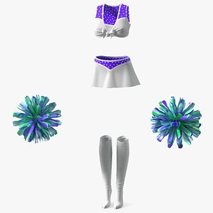 Purple Cheerleader Outfit with Pom Pom 3D model