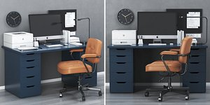 3D model IKEA office workplace with ALEX table and ALEFJALL chair