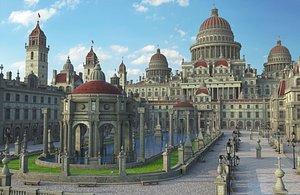 3D Fantasy Dome City Environment