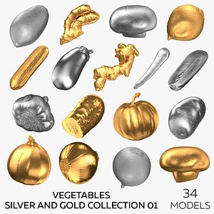 Vegetables Silver and Gold Collection 01 - 34 models 3D model