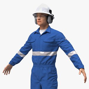 3D Oil Gas Worker Rigged