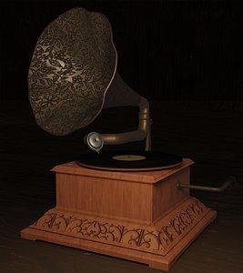 vintage  phonograph 3D model