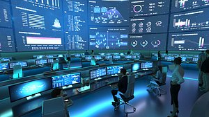 3D Control Room, Monitoring room, command center model