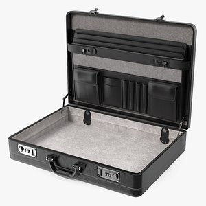 Opened Hard Shell Leather Briefcase Black 3D model