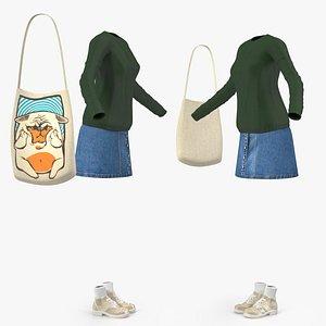 3D model Urban Style Girl Clothes Set