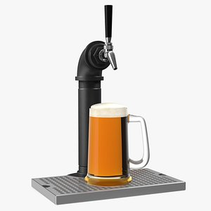 Black Iron Beer Tower Single Tap with Beer Mug 3D model