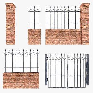PBR Modular Fence Low Poly 3D