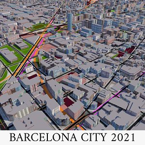 Barcelona city of Spain 2021 model