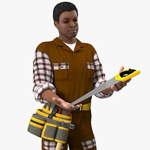 Afro American Woodworker Standing Pose 3D