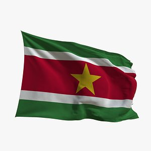 3D Realistic Animated Flag - Microtexture Rigged - Put your own texture - Def Suriname