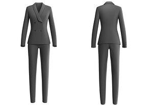 Female Suit - Lowpoly complete suit set model