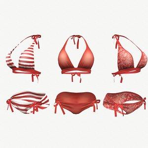 Red Bikini Swimsuit - 3 colors 3D model