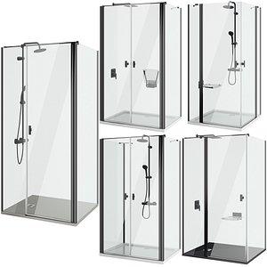 3D Shower cabins Radaway Nes 8 Black set 138