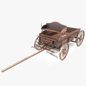 wooden cart 3D