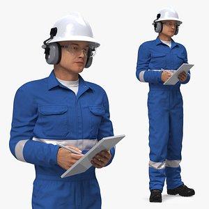 Oil Gas Worker Standing Pose Fur model