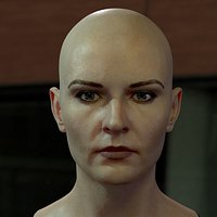 The 3d model of a woman head female